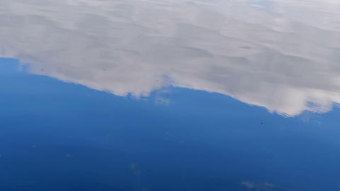 Sky Reflection On The Water Surface stock footage