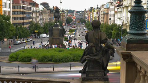 4k UHD prague wenceslas square time lapse pan 1140 Footage