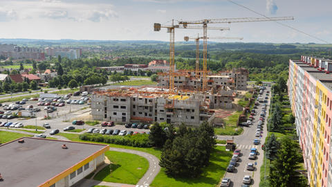 4k UHD Housebuilding Construction Wide Pan 11406 stock footage