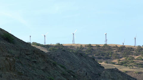 Wind farm in the mountains. Mountain Meganom, Crim Footage
