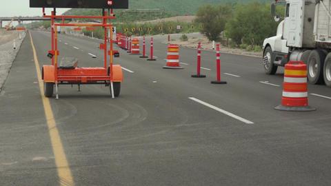 Highway Detour Sign Tilt Up Traffic Footage