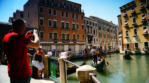 Scene from Venice city,Italy,with tourists in a fa Footage