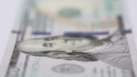 New 100 Dollar Bill - Rack Focus stock footage
