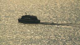 HD2008-8-10-18 little green boat thru frame Stock Video Footage