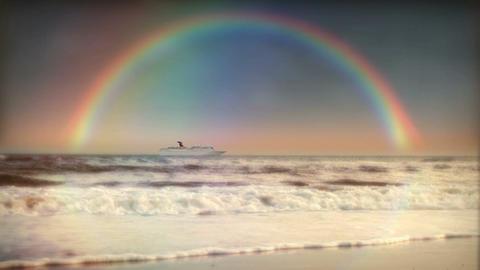 (1200S) Rainbow Ocean Surf Beach Sunset Cruise Ship... Stock Video Footage