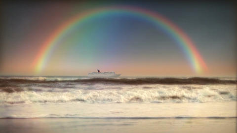 (1200S) Rainbow Ocean Surf Beach Sunset Cruise Ship... Stock Video Footage