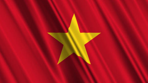 VietnamFlagLoop01 Stock Video Footage