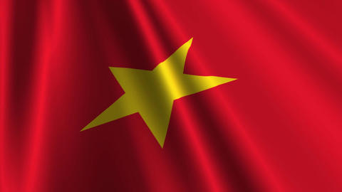 VietnamFlagLoop03 Stock Video Footage