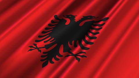 AlbaniaFlagLoop02 Stock Video Footage