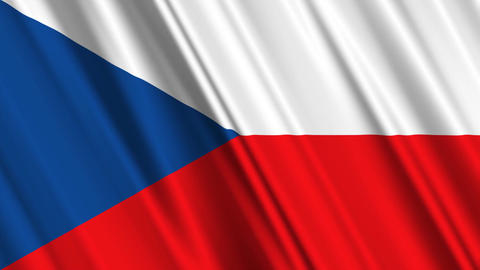 CzechRepublicFlagLoop01 Stock Video Footage