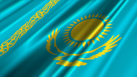 KazakhstanFlagLoop02 Stock Video Footage