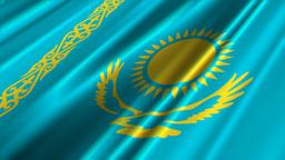KazakhstanFlagLoop02 Stock Video Footage