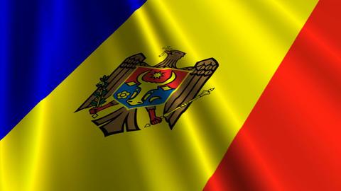 MoldovaFlagLoop03 Stock Video Footage
