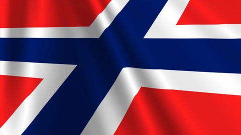 NorwayFlagLoop03 Stock Video Footage