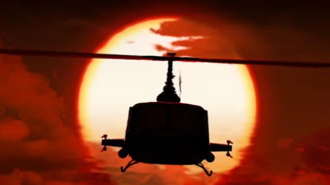Helicopter in sunset Stock Video Footage