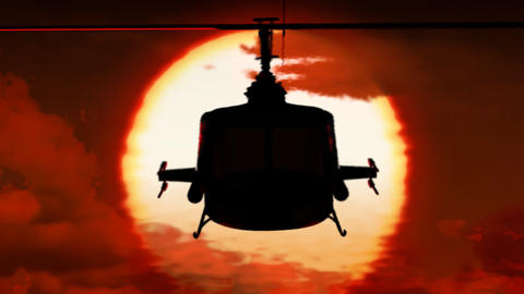 Helicopter in sunset Animation