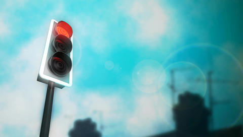 Traffic Lights Chimneys HD Loop Stock Video Footage