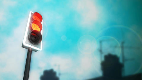 Traffic Lights Chimneys HD Loop Animation