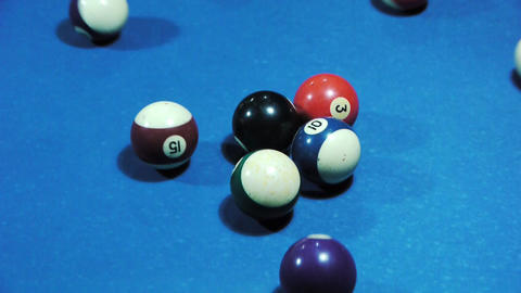 Pool balls separating during break - Sport - Leisure Stock Video Footage