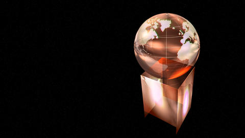 Loopable rotating globe award on black background, animation Animation