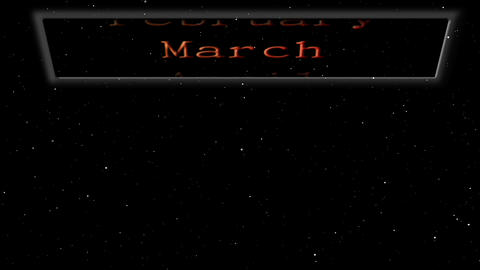 Monthly calendar floating in space Animation