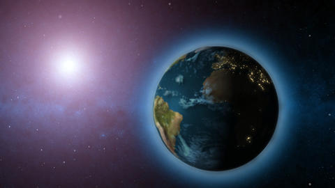 Rotating Earth and sun animated background Stock Video Footage
