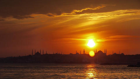Turkey, Istanbul, Hagia Sophia City Mosque near coast at sunset - Travel Destinations - Timelapse Footage