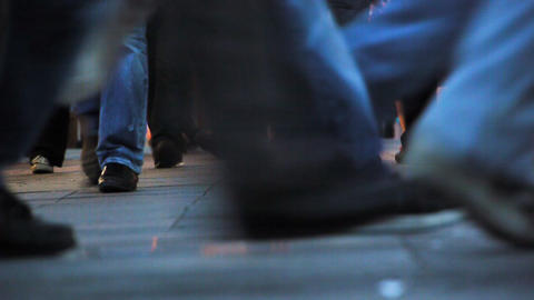 Pedestrians feet walking in city - Crowded Pavement Footage