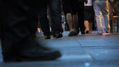Pedestrians feet walking in city - Crowded Pavement Stock Video Footage
