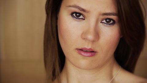 Sad young woman grymacing Stock Video Footage