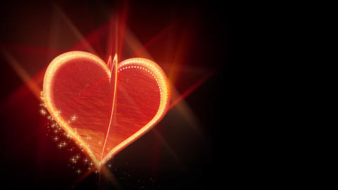Rotating love heart on black background - Emotion -... Stock Video Footage