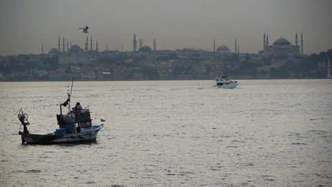Turkey, Istanbul, Fishing boats near Hagia Sophia Mosque... Stock Video Footage