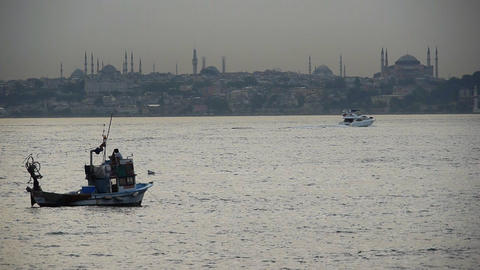 Turkey, Istanbul, Fishing boats near Hagia Sophia Mosque - Travel Destinations Footage