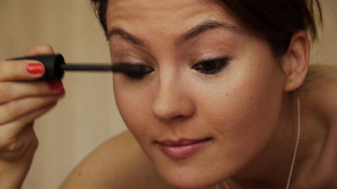 Beautiful girl makeup mascara smile Stock Video Footage