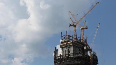 Skyscraper cranes construction time lapse Stock Video Footage