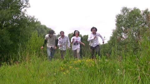 walking friends on grass Footage