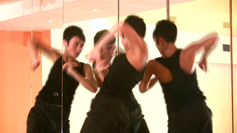 dance girl and mirrors Stock Video Footage