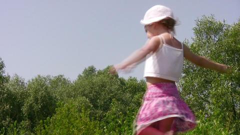 dancing little girl outdoor Stock Video Footage