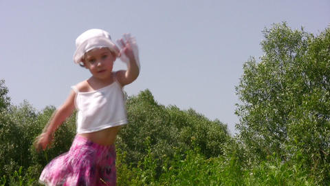 dancing little girl outdoor Stock Video Footage