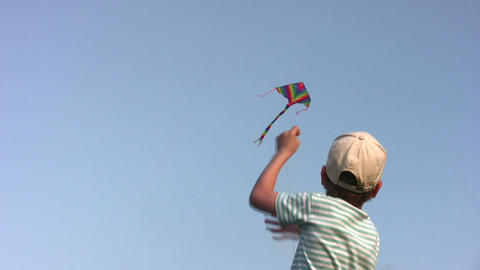boy with kite Stock Video Footage