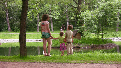 mother with children in park Footage
