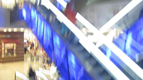 escalator from elevator in shop Stock Video Footage