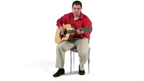 play on guitar. Full body Stock Video Footage