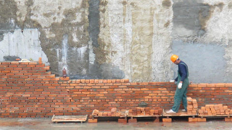 Brick worker time lapse Stock Video Footage