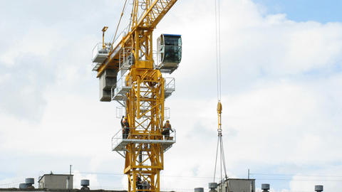 Rising Building crane construction Stock Video Footage