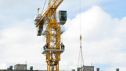 Rising Building crane construction Stock Video Footage