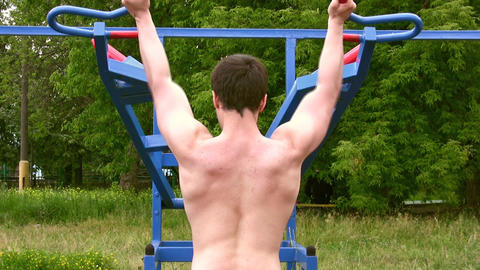 Back bodybuilder outdoor Footage
