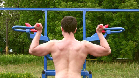 Back bodybuilder outdoor Stock Video Footage