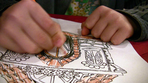 Child drawing Stock Video Footage