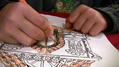 Child drawing Footage